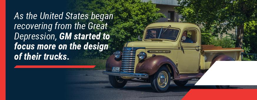 GM focused more on truck design after Great Depression