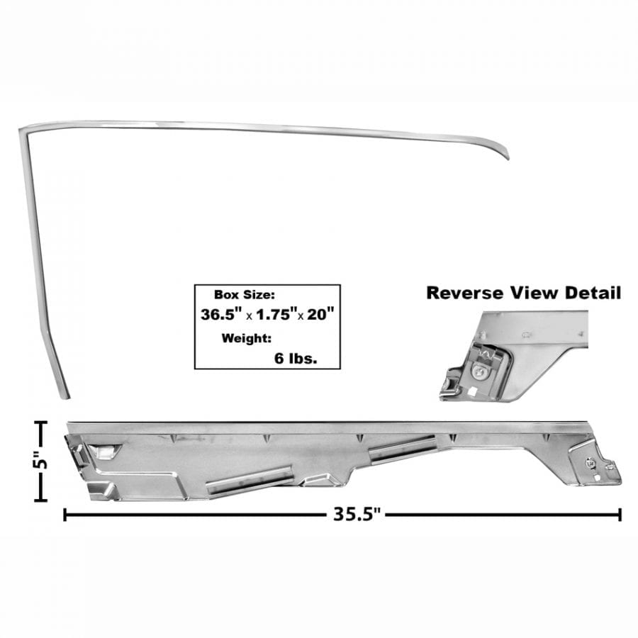 1965-1966 Ford Mustang Door Window Frame Kit Driver Side (LH) Convertible
