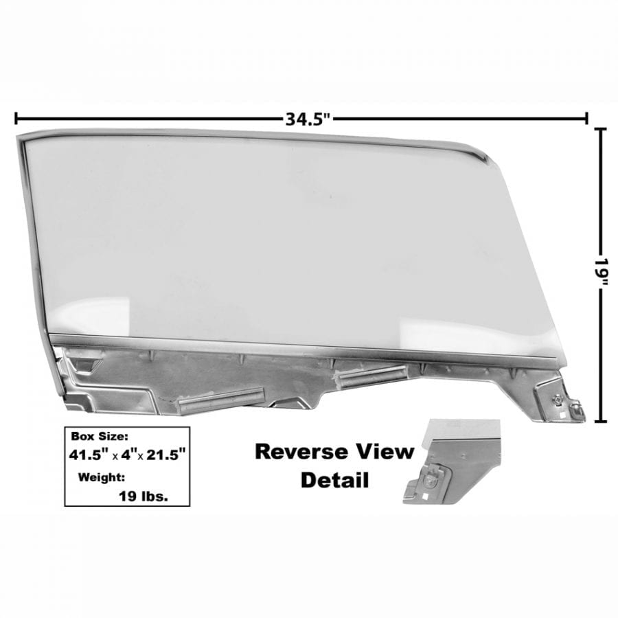 1965-1966 Ford Mustang Door Window Glass Assembly Driver Side (LH) Convertible