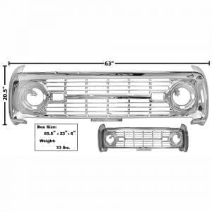1966-1968 Ford Bronco Grille Chrome No Logo