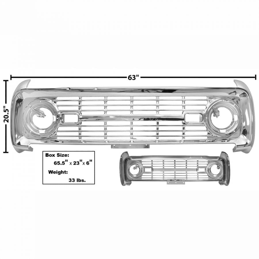 1966-1968 Ford Bronco Grille Chrome No Logo