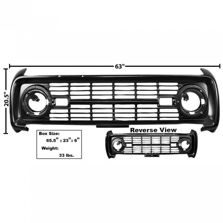 1966-1968 Ford Bronco Grille Painted No Logo