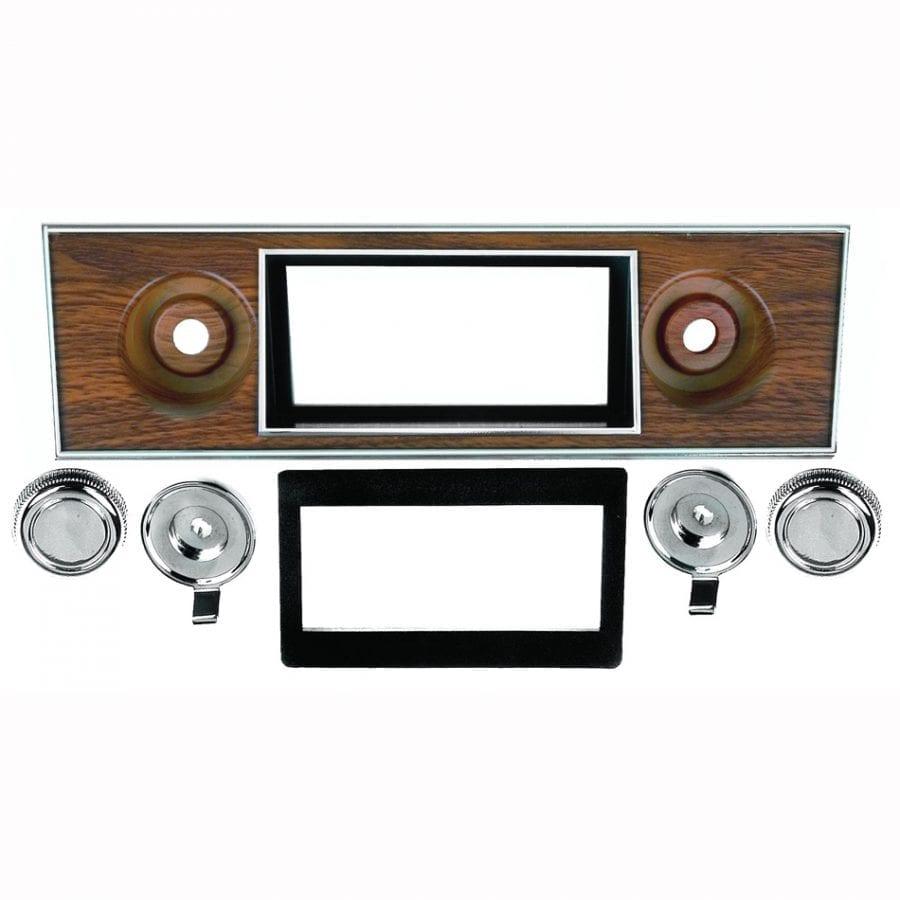 1967-1968 Chevy Camaro Radio Bezel and Knob Kit Walnut
