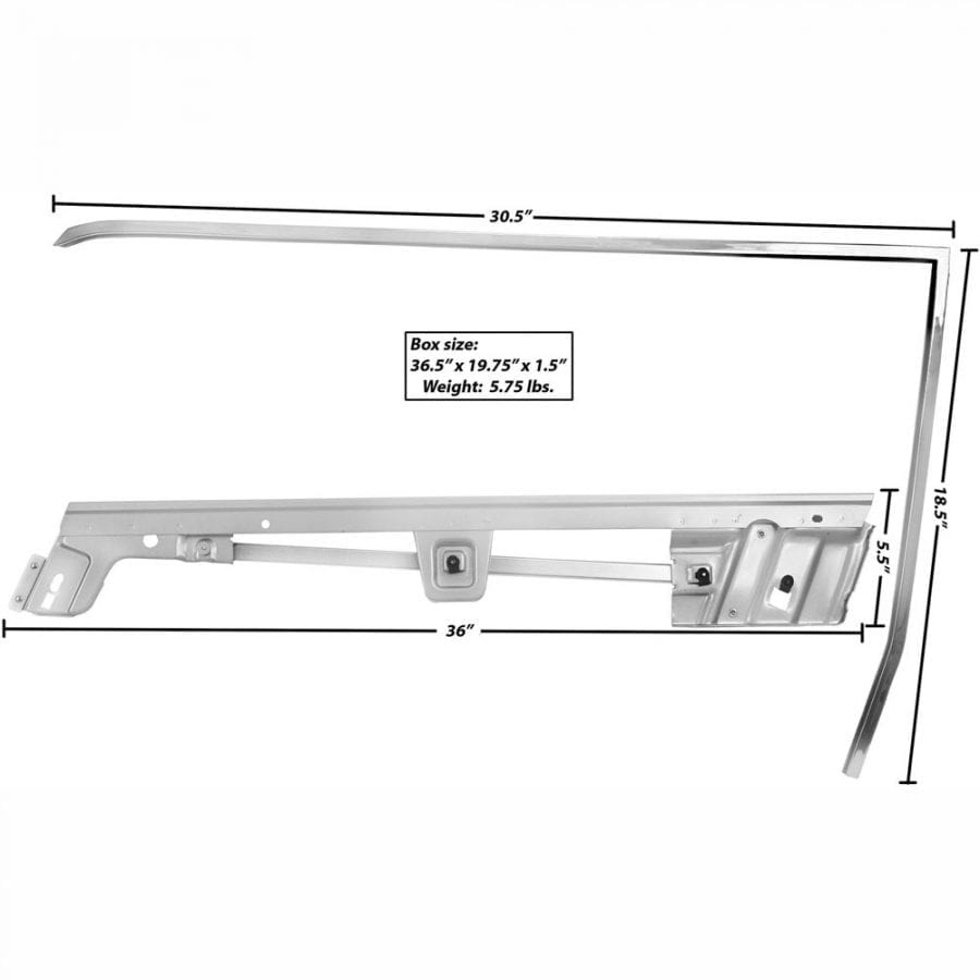 1967-1968 Ford Mustang Door Window Frame Kit Driver Side (LH) Coupe