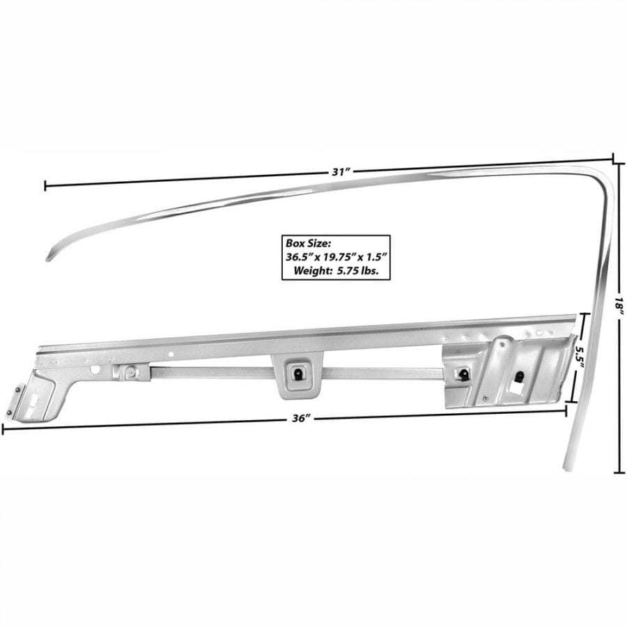 1967-1968 Ford Mustang Door Window Frame Kit Driver Side (LH) Fastback