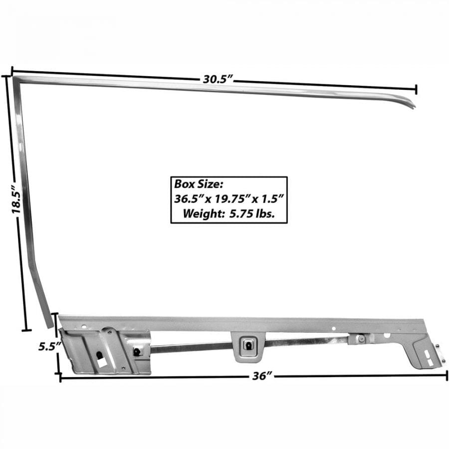 1967-1968 Ford Mustang Door Window Frame Kit Passenger Side (RH) Coupe