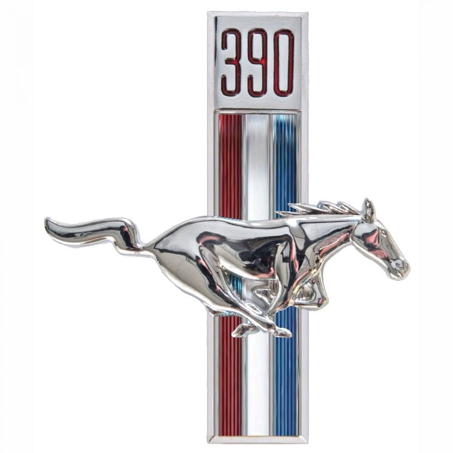 1967-1968 Ford Mustang Emblem Running Horse 390 Passenger Side (RH)