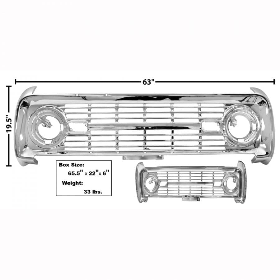 1969-1977 Ford Bronco Grille Chrome No Logo