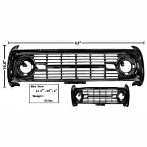 1969-1977 Ford Bronco Grille  Painted No Logo