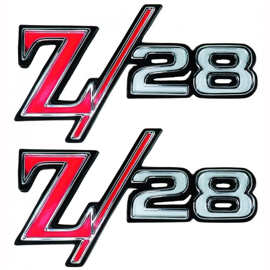 1969 Chevy Camaro Emblem Z/28 Fender Emblem Pair