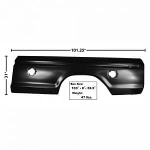 1973-1979 Ford Pickup Truck Bedside Skin Driver Side (LH) Square Hole