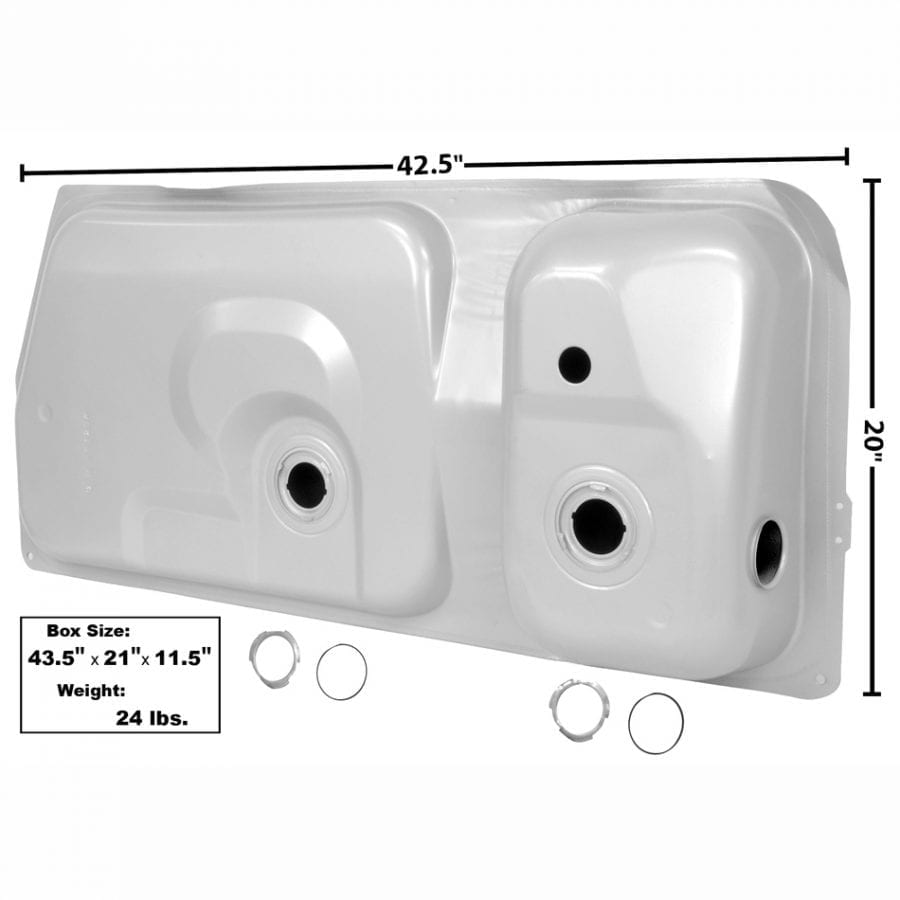 1973-1987 Ford Mustang Gas Tank 15.4 Gal 2 Gauge Hole