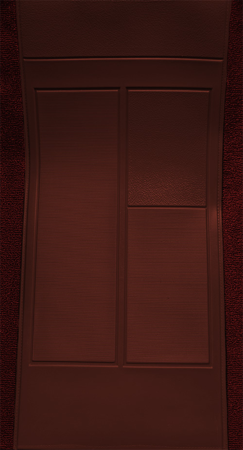 1970 Ford Mustang Mach I with 2 Maroon Inserts Flooring-closeup