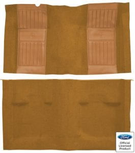 1971-1973 Ford Mustang Mach I with 2 Medium Saddle Running Pony Inserts Flooring