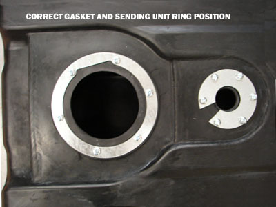2000-2010 Ford Super Duty F350-F550 Pickup 40 gallon fuel tank gasket and sending unit position
