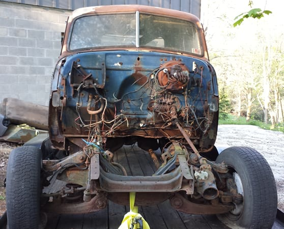 1953 chevy truck firewall - before