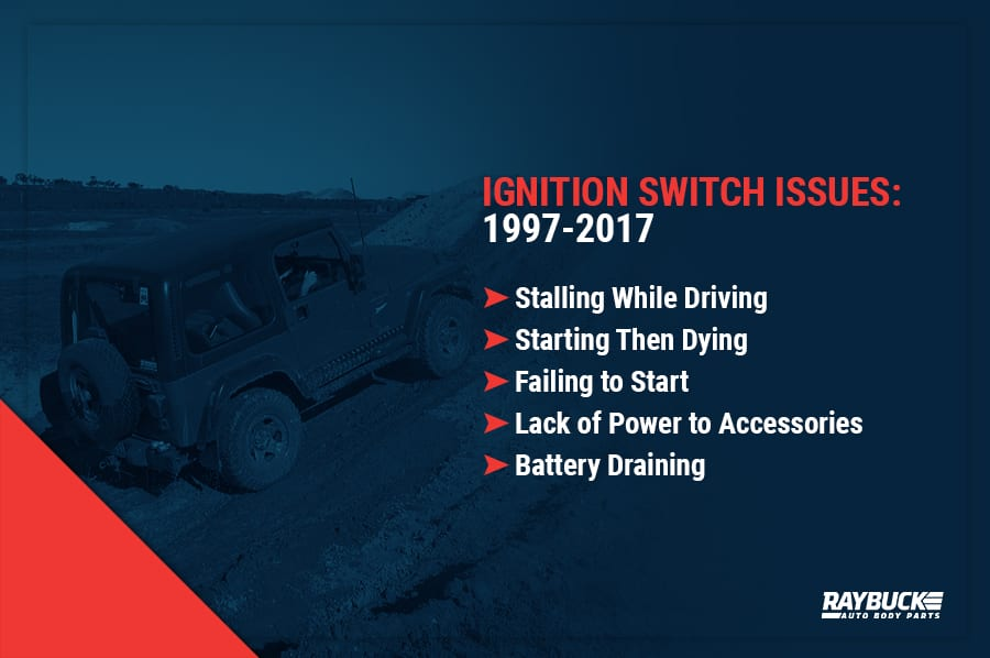 97-17 Jeep Wrangler ignition switch issues