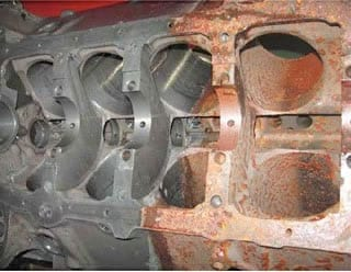 Engine block treated with Rust Release